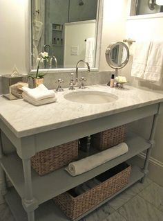 Source: Everyday Occasions Bedford Post Inn   Glam Bathroom With Gray Bathroom  Vanity With Marble Countertop, Polished Nickel Gooseneck Faucet, Marble  Tiles ...