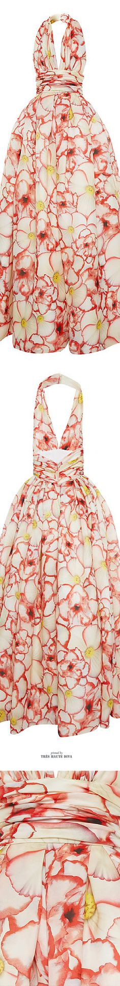 Naeem Khan Pansy Print Halter Gown ♔ SS 2015