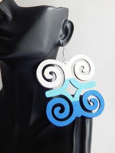 African Earrings Adinkra Symbol Jewelry Blue Earrings Wooden Jewelry Hand Painted Ethnic Dwennimmen Earrings  Summer Jewelry by TheBlackerTheBerry