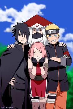 Sasuke, Sakura, Kakashi and Naruto Naruto Team 7, Naruto Kakashi, Anime Naruto, Naruto Cute, Team Minato, Kakashi Hatake Hokage, Konoha Naruto, Shikamaru, Naruhina