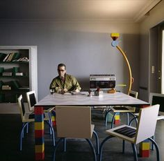 Karl Lagerfeld in his Monte Carlo Memphis-furnished apartment, 1981