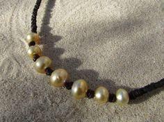 goldene Südseeperlen Kette Leder Perle Südsee von ColouredCat