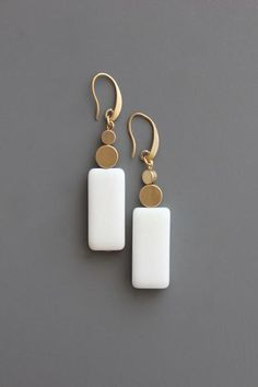 18k gold plated brass hook earrings with marble and brass beads.