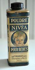 """Rare BOITE en tole sérigraphiée """"Poudre  Nivéa pour Bébé 1930 bouchon bakélite"""