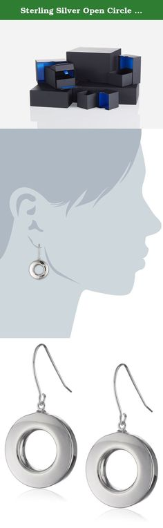 Sterling Silver Open Circle Dangle Earrings. These dangle earrings offer an open circle silhouette, providing a peek-a-boo effect along with the brilliant shine of rhodium-plated sterling silver. Fishhook backing. Crafted in .925 sterling silver. Imported.