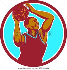 Illustration of a basketball player with ball rebounding lay up set inside circle viewed from the side done in retro style. - stock vector