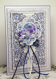 Happy Monday, Another card today using a real mix of cosmic shimmer products and dies, this was so much fun to do! I stared by making . Sue Wilson, Card Making Designs, Card Designs, Shabby Chic Cards, Spellbinders Cards, Die Cut Cards, Pretty Cards, Watercolor Cards, Flower Cards