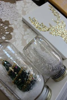 DIY Mason Jar snowglobes..I like the glitter deer head also also make mini bottle snowglobe charms with mini bottles: http://www.ecrafty.com/c-517-mini-glass-bottles.aspx #ecrafty