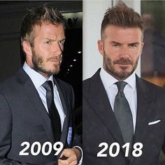 Soccer PinWire: Looks better and better with age. David Beckham 2018, David Beckham Style, David And Victoria Beckham, Mens Hairstyles With Beard, Hair And Beard Styles, Hairstyles Haircuts, Haircuts For Men, David Beckham Haircut, David Hair