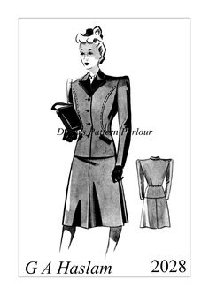1940s wartime suit vintage sewing pattern of a design by G A Haslam.  High quality multi-sized vintage sewing patterns from Daisy's Pattern parlour, follow the link to find many more styles by G H Haslam, Eclair Coupe and more.  Order your favourite pattern today and start your project next weekend!