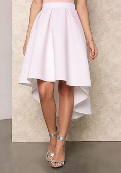 White Box Pleat Hi-Lo Skirt - Skirts - Bottoms - Clothes