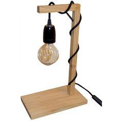 Lampe avec ampoule vintage à filament montée sur une douille à vis noire, en chêne brut. Le cordon d'alimentation est un câble électrique textile rond noir.
