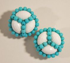 1960s Marvella White and Tiffany Light Blue Beaded Vintage Clip Earrings