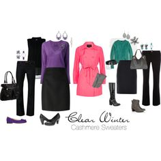 Bright cashmere sweaters mix with wool skirts and dark jeans to make four complete outfits that perfectly complement a Clear Winter. Clear Winter, Purple Teal, Dark Jeans, Winter Colors, Wool Skirts, Complete Outfits, Cashmere Sweaters, Polyvore Fashion, Bright Spring