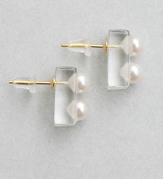 Clear × Pearl Earrings