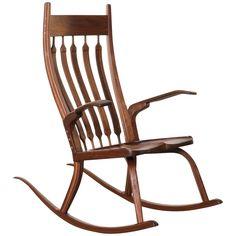California Craftsman Wooden Rocking Chair, Dark Walnut