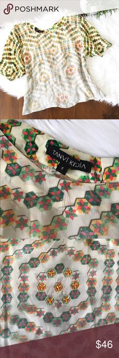 ANTHRO Tanvi Kedia beaded geometric blouse size S Gorgeous made in India beaded geometric pattern ombré blouse by Tanvi Kedia. Purchased from anthropologie. Excellent used condition without flaws. Size small. Anthropologie Tops Blouses