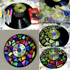 Recycling DIY Projects and Crafts diy diy ideas diy crafts diy projects diy recycled projects do it yourself ideas Vinyl Record Crafts, Old Vinyl Records, Vinyl Crafts, Cd Diy, Diy Tumblr, Recycled Cds, Recycled Crafts, Recycled Bottles, Recycled Materials