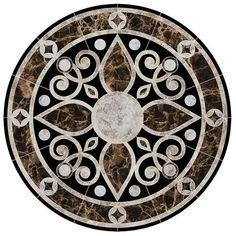 Baroque Medallion 2 Porcelain Swimming Pool Mosaic x Mosaic Glass, Mosaic Tiles, Tiling, Swimming Pool Mosaics, Artificial Marble, Foyer Flooring, Tuscan Design, Floor Patterns, Marble Floor