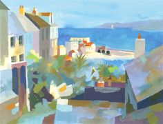 Buy art online- Harbour View- signed limited edition silkscreen print by landscape artist Richard Tuff from CCA Galleries. Landscape Art, Landscape Paintings, Landscapes, Kitsch, British Beaches, Watercolor Bird, Watercolor Paintings, Art Folder, Commercial Art