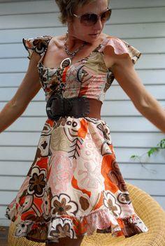 based on Burdastyle pattern 5/2010 Dress with ruffle sleeve #110B $5.40