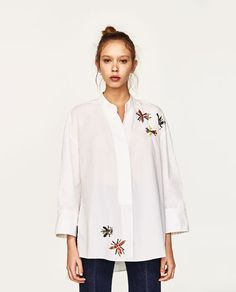 Image 2 of OVERSIZED SHIRT WITH SEQUINS from Zara