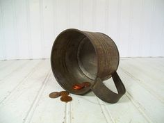 Vintage Rustic Metal Tin Coffee Cup  Retro by DivineOrders on Etsy, $16.00