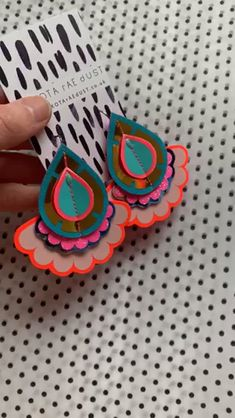 RESTOCKED - limited pairs of these colourful, statement earrings now online. Diy Jewelry, Jewelry Making, Jewellery, Recycled Fashion, Textile Jewelry, Recycled Fabric, Textile Artists, Teardrop Earrings, Ethical Fashion