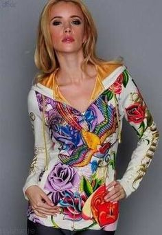 Ed Hardy hoodie. Colorful Hoodies, Cool Hoodies, Ed Hardy Designs, Christian Audigier, Love Design, Dress Outfits, Dresses, Casual Wear, Clothes For Women