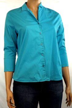 Allison Morgan Women's Plus Sz 1X Blue Blouse 3/4 Sleeve Button Front Stretch #AllisonMorgan #Blouse #Casual