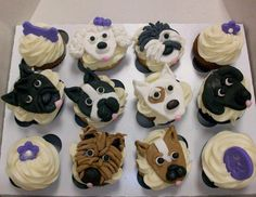 The PJ Salvage team loves dogs!  Dog cupcakes #cupcakes #dogcakes