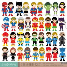 36 enfants Superhero Costumes Clipart, Clipart enfants de super-héros, super-héros Clipart, Clipart de Super héros, super héros garçons, les filles super héros
