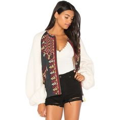 Free People Two Faced Embroidered Jacket (€235) ❤ liked on Polyvore featuring outerwear, jackets, coats & jackets, zipper jacket, cotton zip jacket, embroidered jacket, free people jacket and cotton jacket