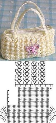 Crochet Purses Patterns Cómo atar un gancho de bolsa - Как связать сумку крючком Crotchet Bags, Bag Crochet, Crochet Purse Patterns, Crochet Shell Stitch, Crochet Handbags, Crochet Purses, Knitted Bags, Crochet Doilies, Bobble Stitch