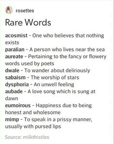 "I could definitely use a few of those. Like a vampire falling in love and being like ""Perhaps I could sing her an aubade."" And whoever he's talking to just be like ""Dude, what the fuck is an aubade?"""