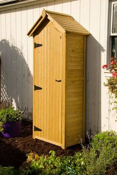 Once you have this handy, wooden garden tool storage shed, you'll wonder how you ever got along without it! Small Garden Tool Storage, Small Garden Tools, Unique Garden, Gardening Tools, Outdoor Storage, Backyard Sheds, Outdoor Sheds, Garden Sheds, Storage Shed Plans