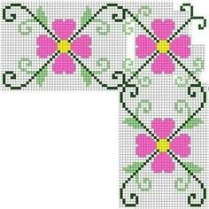 Embroidery in checkered fabric - tablecloth (details on embroidery . visit) Embroidery in checkered fabric – tablecloth (details on embroidery … visit) Mini Cross Stitch, Simple Cross Stitch, Cross Stitch Rose, Cross Stitch Embroidery, Hand Embroidery, Easy Cross Stitch Patterns, Cross Stitch Borders, Seed Bead Flowers, Tablecloth Fabric