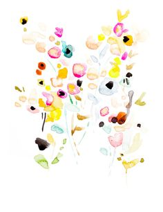 Watercolor Floral Art Print, Floral Summer Study #5, Modern Art, Contemporary Artwork, Bohemian Art Print