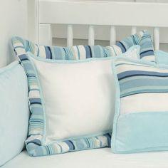 White Ocean Stripe Pillow : Decorative Pillows at PoshTots