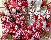 Christmas Wreath, Candy Cane, Whimsical, Red and White, Christmas Mesh Wreath