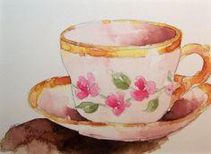 Watercolor Paintings by RoseAnn Hayes: Teacup