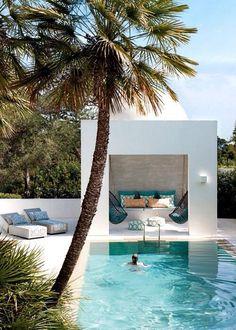 White pool and cabana. Pinned to Pool Design by Darin Bradbury.
