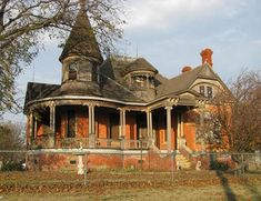 Somewhere in Texas....I love Victorian gothic homes.  They are charming and full of quirkiness and character and a little spooky all at the same time!  This one more spooky than some since it's not in great shape.