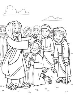 jesus heals the 10 lepers coloring pages | 42 Best JESUS HEALS THE TEN LEPERS !!! images | Sunday ...