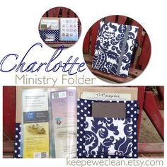 Charlotte MADE TO ORDER ministry folder Navy home by keepeweclean with vinyl cover