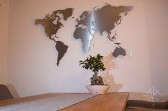 Design-Weltkarte aus Edelstahl