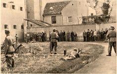 Na dvorišču Starega piskra v Celju prvi skupini zavezujejo oči. Povzeto po knjigi Mučeniška pot k svobodi izdana v Ljubljani maja 1946.
