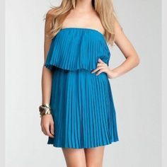 Bebe Pleated Accordian Tube Strapless Dress Blue EUC. Reposhing. I thought Small would work but I need sz XS. Exact dress model is wearing however it's a beautiful royal blue. This color is HOT right now! My loss is your gain. Recovering what I paid. Lower thru PayPal. bebe Dresses Strapless