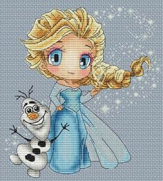 Les Petites Croix De Lucie Elsa and Olaf - Cross Stitch Pattern. Model stitched over two threads on 32 Ct. Sky Blue Evenweave using Kreinik braid & DMC floss Frozen Cross Stitch, Cross Stitch For Kids, Cute Cross Stitch, Cross Stitch Charts, Disney Cross Stitch Patterns, Cross Stitch Designs, Hand Embroidery Patterns, Embroidery Designs, Cross Stitching