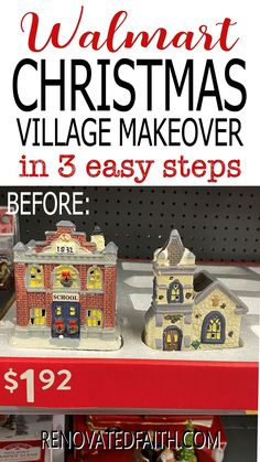"""You won't believe the after photo!  This easy step-by-step tutorial and video shows you how to give your Christmas village or nativity scene display a makeover with paint and a little clear glitter. This vintage village makeover can also work on a nativity set, no matter the colors.  Included are display ideas to give it a """"wood and white"""" look. Thrifted Christmas Village Makeover Makeover.  Dollar Store Elegant Christmas Decor, Simple Christmas, Christmas Tree Decorations, Christmas Ornaments, Best Spray Paint, Spray Paint Cans, White Nativity Set, Spray Painting Glass, Winter Wonderland Decorations"""